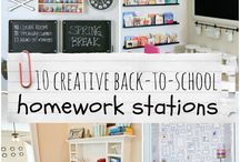 Homework Heaven / Keep the kiddos on track by creating a place in your home which is conducive to getting that homework finished.  If you keep that area (or better yet- have the kids keep the area) organized and well supplied, you just may cut down on the amount of time they spend complaining about their homework.