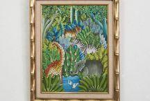 Vintage Wildlife Oil Painting