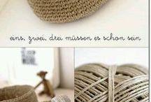 paniere en coton crochet