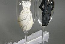 Taças de vinho pintadas