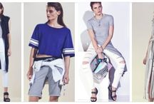 Le Sportif - Spring/Summer 2015-16 / We're taking a closer look at the key trends for Spring Summer & giving you plenty of inspiration. Le Sportif: Sports influences continue for another season, with staples such as the sweatshirt, baseball tee and jogger styled with trend-led pieces such as the sleeveless trench, distressed skinny jean and shirt dress.   Think stripes, sporty tipping, binding and colour-blocking in a cool palette of white, blue and navy.