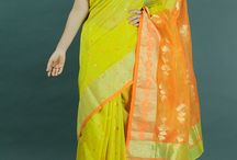 Chanderi Charm / Handwoven Chanderi Sarees in vibrant colors