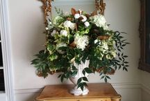 White and green floral design