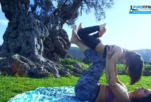 Yoga partner with my daughter #aegina #Greece www.purefitness.gr