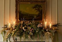 Mantle Decorations for Weddings / Our Thatch Barn Fireplace Mantle can be decorated with flowers.