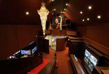 """EBISU / LSD design co., ltd. """"EBISU""""/2012/bar/Oita, Japan/interior and facade design chandelier, red, dark, gorgeous"""