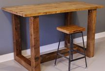 Desks made from reclaimed wood / Inspiration for a little work station...