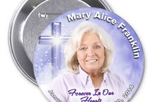 Custom Memorial Photo Buttons / Our lovely memorial button pins provide a beautiful background set along side of your favorite loved one's photo for a sweet keepsake. Great keepsake for the family and/or to distribute at any service.