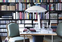"""Moody & Gold Bookshelf / Any good """"shelfie"""" should be well-balanced in both decor and color. This lavish look brings drama and opulence to a broody library or a masculine office. First, paint your wood shelves a dark, moody hue, and then accentuate with gold decor for a juxtaposing flash a glamour."""