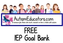 FREE IEP Goal Bank / Find all domains from Curriculum and Instruction to Social Skills for our students with autism.  FREE for you to help your students achieve their IEP Goals!