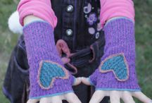 Fingerless Gloves / Warm and cozy women's and children's fingerless #gloves. Wrist warmers  from recycled fabrics. #MadeInTheUSA from upcycled and recycled fabrics.