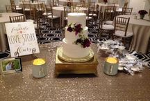 Bridal cake tables / Here's a few pictures of our events with the linens and cake stands. Beautiful cakes by local bakeries