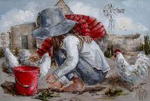 kinderen op canvas