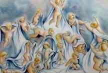Angelots à l'aquarelle / Inspirés d'un voyage à Rome ces angelots ont vu le jour sur mon papier... potelés, en mouvement, c'est le début d'une série...