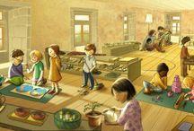Tavolini per bambini / Sedie e tavolini per bambini sono usati in case e scuole di tutto il mondo da quando Maria Montessori, grande pedagogista del Novecento, teorizzò un metodo educativo in cui tutto, persino mobili e arredi, doveva essere ad altezza e a misura di bambino. I tavolini per bambini in legno sono oramai comuni in asili nido e scuole dell'infanzia. I tavolini bassi per bambini servono a disegnare, fare collages, giochi didattici, puzzle, lavoretti.