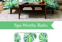 Beachy Shower Curtain Ideas / Shop shower curtains with coastal appeal from watery abstracts, tropical florals and resort-inspired style. Spa worthy bathroom decor and ideas.