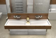 Modern bathroom from Luxum / High-quality architectural concrete panels and double sinks were provided by LUXUM.