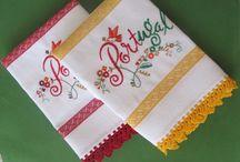 Panos de cozinha com bico em crochet (kitchen cloth)