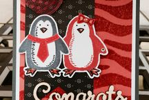 Penguins / Stampin Up Snow place stamp set and Snow friends framelits. Cards and ideas made with this set