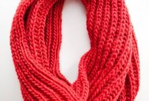 Knit scarves and cowls