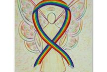 LGBTQ Rainbow Awareness Ribbon Support and Art Gifts / The rainbow ribbon is for LGBTQ (lesbian, gay, bisexual, and transgender, queer) pride and awareness.  It is a reference to the rainbow LGBTQ pride flag.