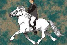 Hestar og Mann / tekeningen van beroemde IJslandse ruiters op legendarische IJslandse paarden