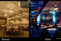 Uplighting / Different lighting in your venue space can make such a dramatic difference and it also allows that space to compliment any color scheme you have chosen for your wedding. It gives off such a romantic ambiance and also an elegant touch. I would suggest to splurge a little to add a lighting effect to your reception. Most disc jockeys offer packages with lighting included that are very reasonable. I say LIGHT IT UP!!
