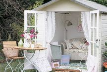 "Shacking up in the ""She Shed"" / Ideas for decorating your woman space. #gardening #studio #writerspace #cottage #tinyhouse #gardenhouse No husbands allowed!"