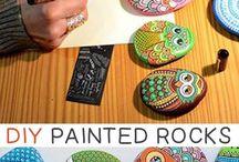 stenen schilderen stone art