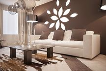 Modern living room with white and beige colors / Modern living room with white and beige colors