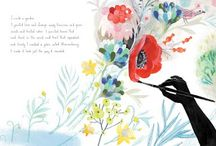 Illustration - plants, trees, flowers in picturebook
