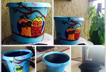 Flower pot painting / An old flower pot gets a makeover. Quirky, cute and fun. The owl pattern which is overrated yet irresistible.