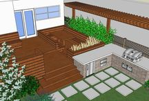 Contemporary Deck Design / The design for this deck was inspired by HIghline Park in New York.  The homeowner had recently been there on a trip and really liked the style of the site furniture in the park.  The homeowner did not want any deck furniture....any seats or tables had to be built in.  There are two long built-in seats with backrests, a built-in ottoman and a built-in dining table surrounded with seating.  There are also built-in planters on the deck for annuals or small perennials.