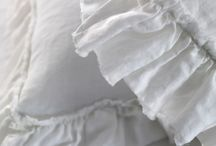 Ruffle Linen Bed, Table & Curtain Linens / All ruffled bed linens made from 100 % Pure vintage washed linen.