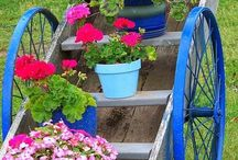 Flower Carts / Great ideas for colorful flower carts.