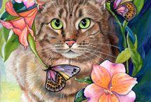 Malarstwo - psy i koty