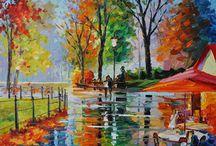 Coffee by the Brook / Rainy Park, Romantic Park, Beautiful Park, Central Park, Love in Park.