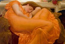~Lord Frederic Leighton~ / Frederic Leighton (1830-1896), 1st Baron, was an English painter and sculptor. His works depicted historical, biblical and classical matter. Leighton was bearer of the shortest-lived peerage in history; after only one day his hereditary peerage ended with his death. His style of art was Pre-Raphaelite.