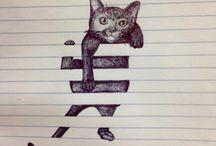 Leuke kat in lijntjesschrift getekend