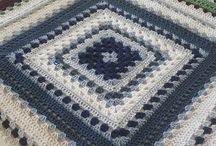 granny square blue and white