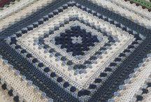 granny square blue and white