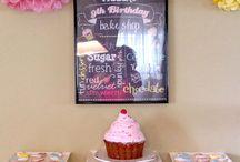 Retro cupcake decorating party