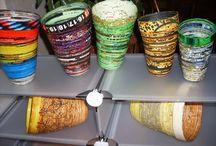 Create manual de mine / Vase din carton pentru orice birou, vopsite, baituite, lacuite