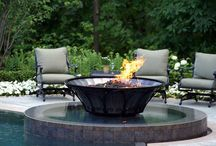 Water on Fire Features / Water and Fire features to light up the outdoor living space of any home. For more design ideas, check out my blog, www.HouseSpiration.com