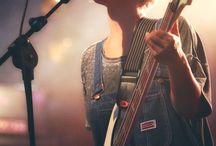 Women playing guitars