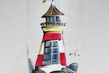 peinture sur verre et roche / silouette simple à dessiner sur des verre ou bien des galets