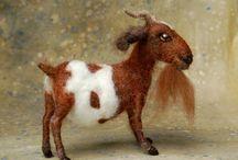 Felt animals-goats