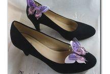 CLIPS CHAUSSURES / bijoux papillons de soie clipsables sur escarpins, ballerines, chaussures disponibles en boutique www.magicreation.fr