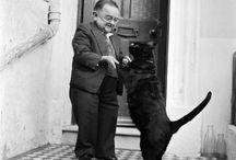 wit  his pet cat