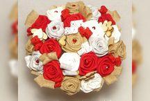 Bouquet de Mariée Rouge Gris et Blanc